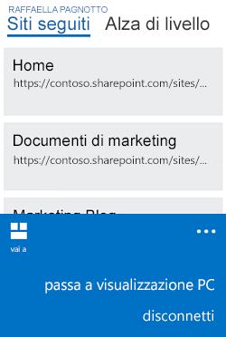 Menu per passare dalla visualizzazione versione mobile alla visualizzazione PC su Windows Phone