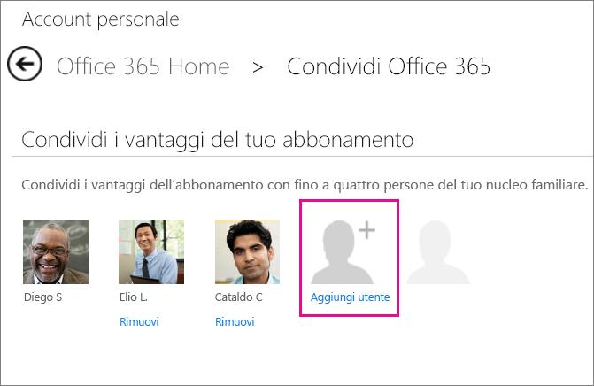 """Screenshot della pagina Condividi Office 365 con l'opzione """"Aggiungi utente"""" selezionata."""