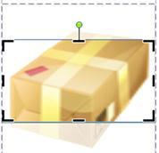 Publisher 2010에서 자르기 프레임 및 핸들이 표시된 클립 아트