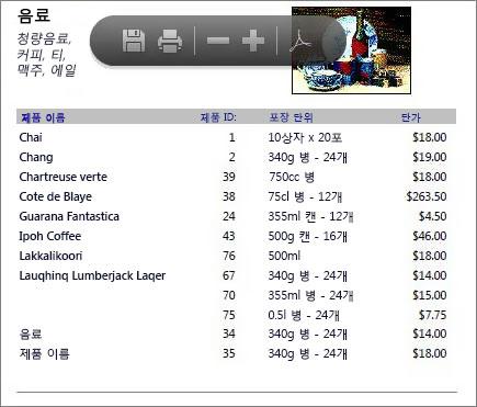 포함된 PDF 파일의 예(제품 카탈로그)