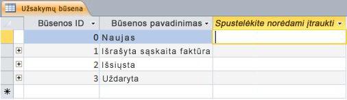 Įtraukti spustelint duomenų lapo rodinyje