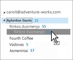 Tinkinti aplanką Gauta