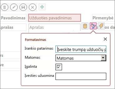 Redagavimo režime esančiame rodinyje rodomi teksto lauko formatavimo parametrai.