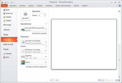 """Skirtukas Failas programoje """"PowerPoint 2010"""", peržiūrint parinktį Spausdinti."""