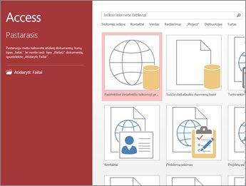 """""""Access"""" darbo pradžios ekranas, kuriame rodomas šablono ieškos laukas ir mygtukai Pasirinktinė žiniatinklio taikomoji programa ir Tuščia kompiuterio duomenų bazė."""