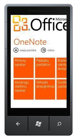 """OneNote Mobile 2010"" telkinys"