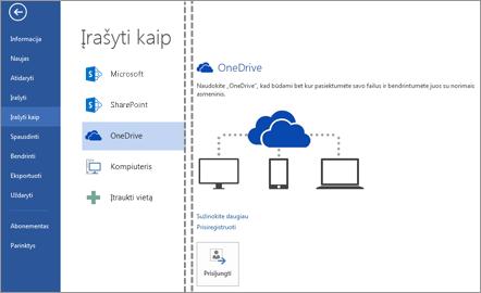 """Failo įrašymas į """"OneDrive"""""""