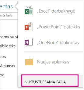 Nusiųsti esamą failą