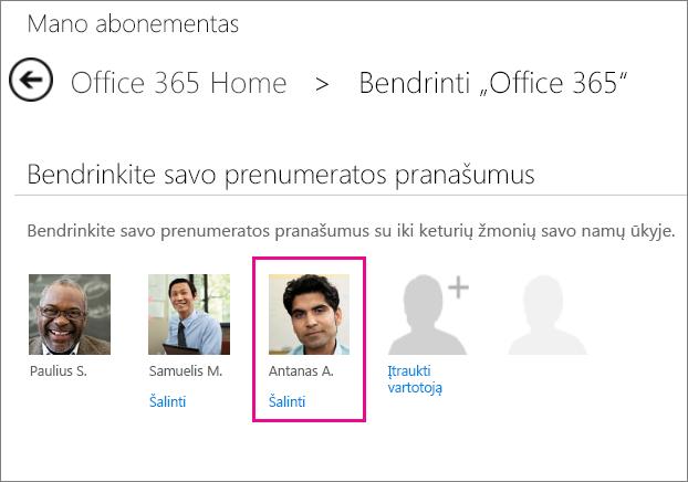 """Puslapio Bendrinti """"Office 365"""" ekrano nuotrauka su pažymėta vartotojo parinktimi Pašalinti."""