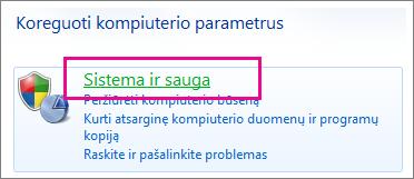 """""""Windows 7"""" valdymo skydas"""