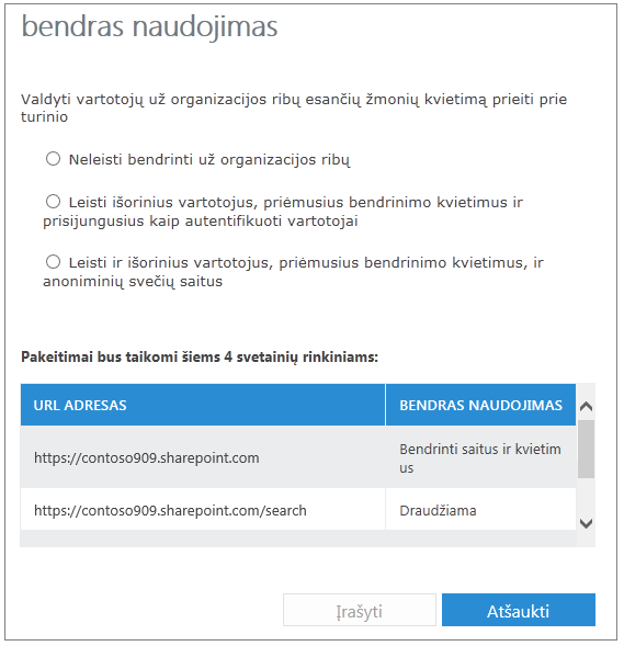 bendrinimo dialogo langas, kuriame rodomi dvi svetainių rinkinių parametrai