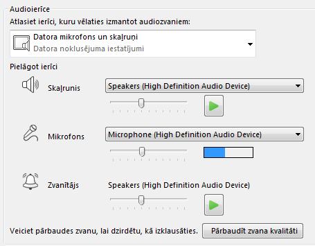 Ekrānuzņēmums ar audio ierīču atlases lodziņu, kurā var iestatīt audio kvalitāti