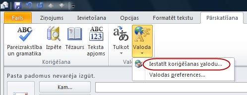 Outlook ziņojuma lentes pārskatīšanas cilnes valoda