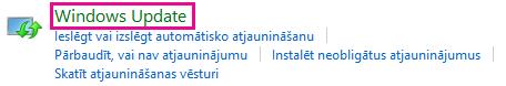 Saite Windows Update operētājsistēmas Windows8 vadības panelī