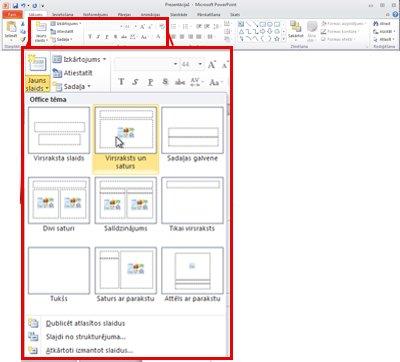 Programmas PowerPoint 2010 cilne Sākums, skats uz grupu Slaidi.