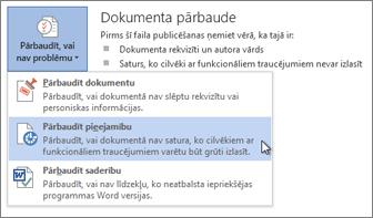 Komanda Pārbaudīt pieejamību programmā Word 2013
