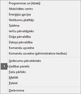 Opciju un komandu saraksts, kas redzams, kad nospiež Windows logotipa taustiņu un X