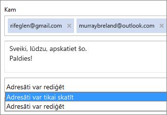 Tikai skatīšanas un pierakstīšanās opciju izvēle uzaicinājuma e-pasta ziņojumā