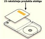 Produkta atslēga iepakojuma iekšpusē uz etiķetes, kas atrodas uz kartes pretī diska turētājam vāciņa iekšpusē.