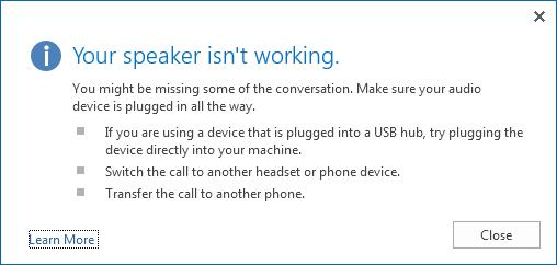 Petikan skrin ralat audio dan opsyen untuk menyemak