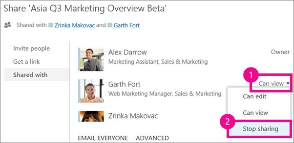 Perintah berhenti berkongsi dalam tetingkap Kongsi dalam OneDrive for Business
