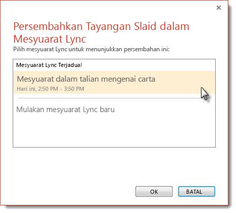Memulakan mesyuarat Lync