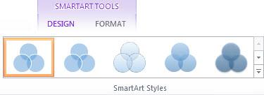 Kumpulan Gaya SmartArt pada tab Reka Bentuk Alat SmartArt