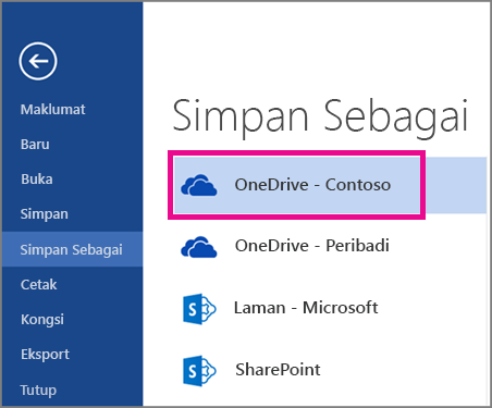 Menyimpan fail dari Word ke OneDrive for Business