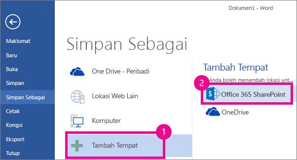Tambahkan OneDrive for Business sebagai tempat menyimpan dalam Word