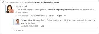 Nyhetsfeedoppdatering når noen bruker et merke som du følger, i et innlegg.