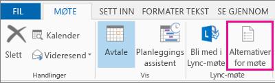 Knappen Alternativer for møte i Outlook 2013