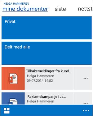 Mobilvisning av dokumentbiblioteket
