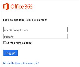 Påloggingsside for portal.office.com
