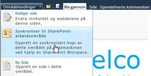 Velg dette alternativet hvis du vil synkronisere et SharePoint-område med datamaskinen.