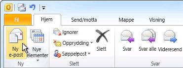 Kommandoen Ny e-post på båndet
