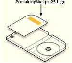 Produktnøkkel plassert inne i pakken på en etikett på kortet motsatt av plateholderen på venstre side av esken.