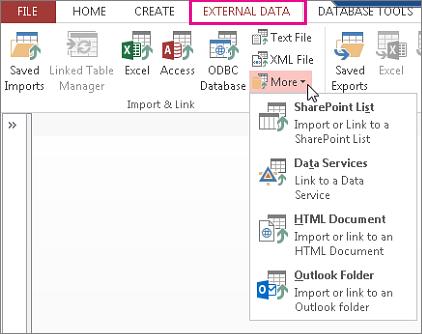 Ekstern data-fanen, alternativer i Access