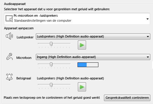Schermafbeelding van het vak voor het selecteren van een audioapparaat waar u de geluidskwaliteit kunt instellen