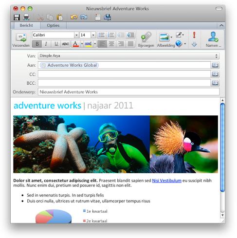 Outlook waarin een e-mailbericht met opgemaakte tekst wordt getoond