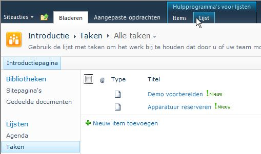 Het tabblad Lijst onder Hulpmiddelen voor lijsten in een SharePoint-site