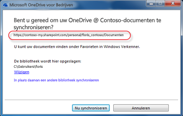 De wizard van OneDrive voor Bedrijven met een al ingevulde URL