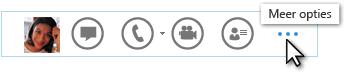 Schermafbeelding van het Lync-snelmenu met Meer opties