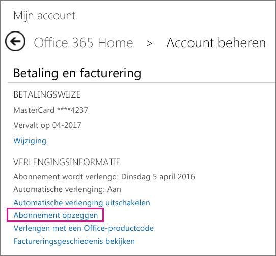 Schermafbeelding van de pagina Account beheren, waarop de koppeling Abonnement annuleren is geselecteerd.