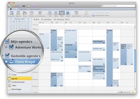 Outlook waarin meerdere agenda's worden weergegeven