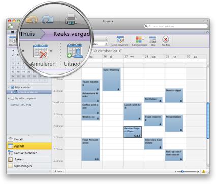 Outlook-interface met het nieuwe lint