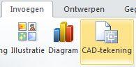 Knop voor het invoegen van een CAD-tekening