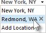 Selecteer een plaats in de lijst met locaties van de weerbalk