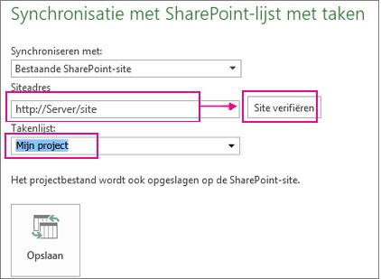 Project opslaan in SharePoint