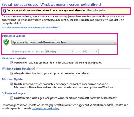 Instellingen voor Automatische updates