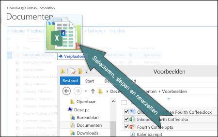Bestanden uploaden naar OneDrive via slepen en neerzetten